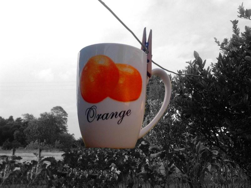 An orange coffee mug