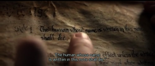 Death Note rule one the human whose name is written in this note shall die