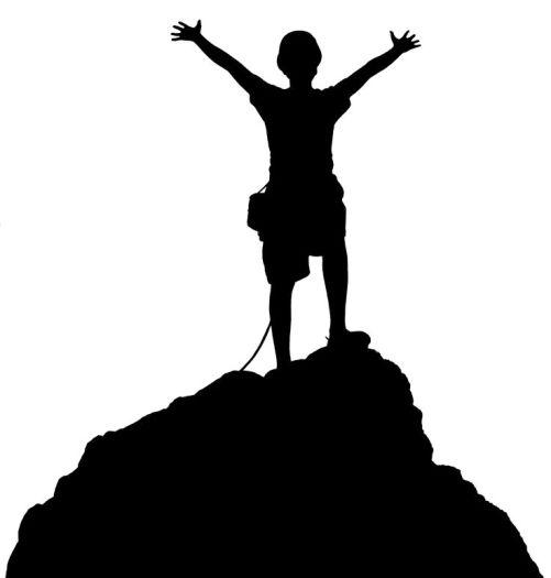 standing top of mountain clip art