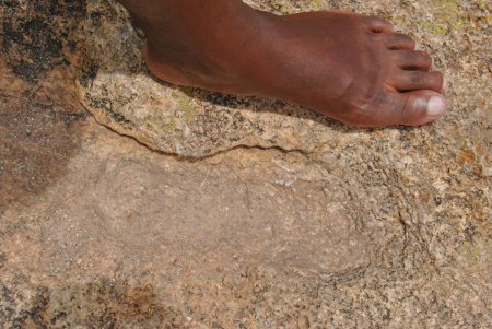God's footprint in a rock