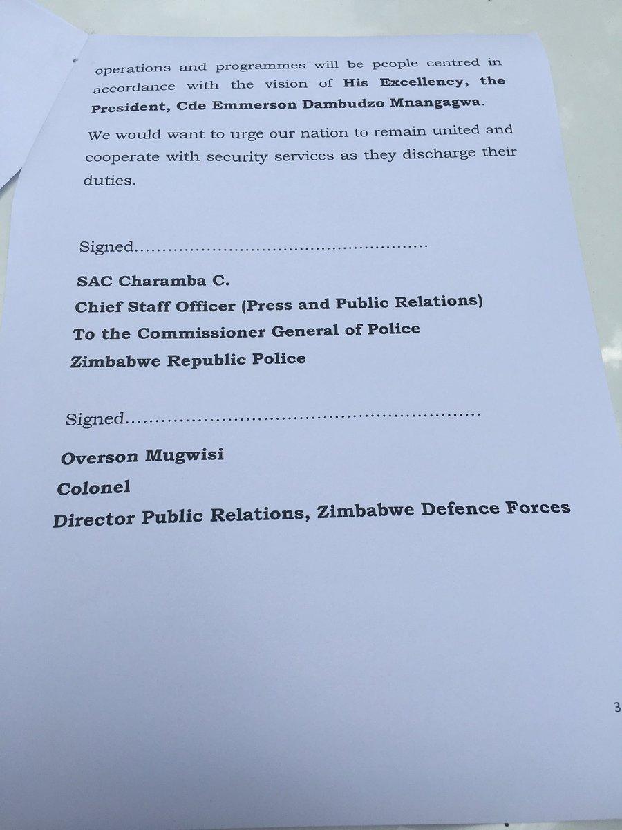 mbabwe ZDF and security service statement
