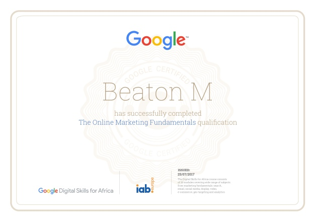 Google skills training certificate