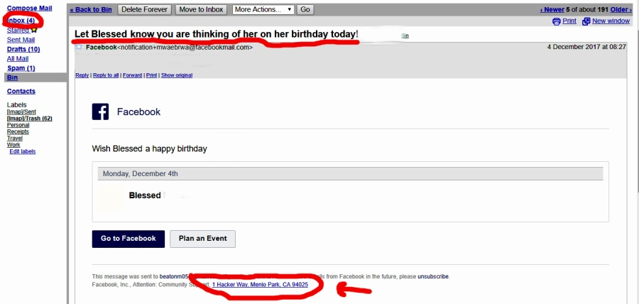 facebook birthday Email notifications