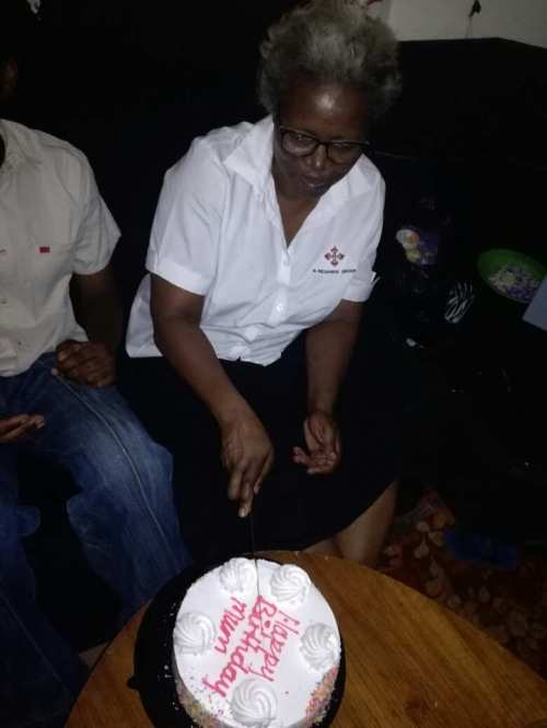 cutting birthday cake