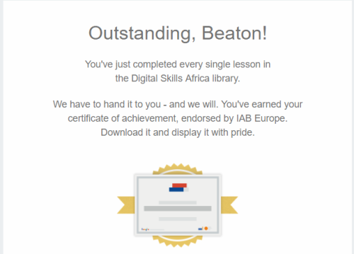 You have completed every single lesson in the Digital Skills Africa library