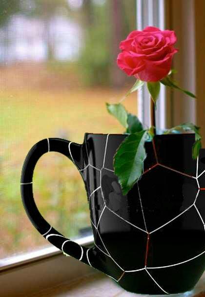 broken mug flower vase