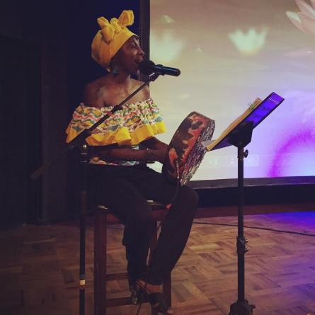 Hope Masike performs at book launch