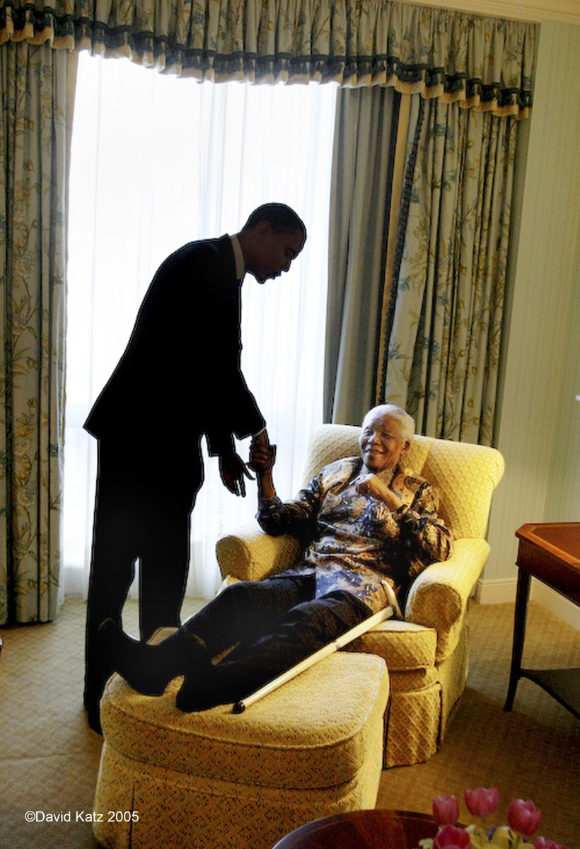 Barack Obama meets nelson mandela