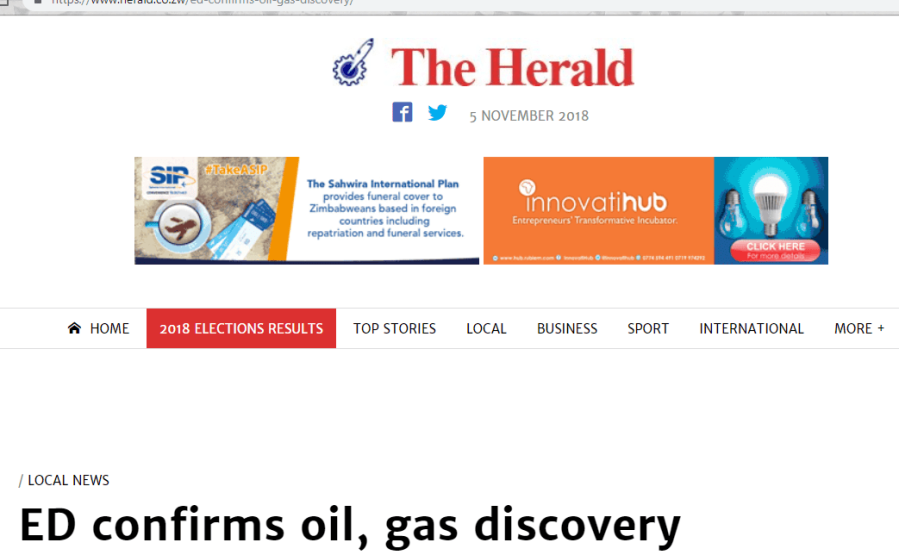 oil found in zimbabwe