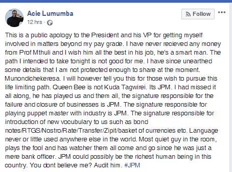 Public apology Acie Lumumba