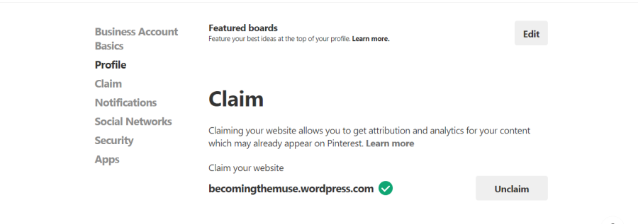claim your website on pinterest to get attribution and analytics for your content which may already appear on pinterst
