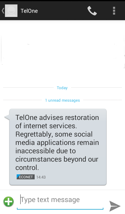 Telone advises restoration of internet after shutdown Zimbabwe