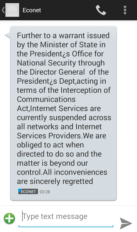 Further to a warrant issued by the Minister of state in the president's office for national security through the presdent's dept, acting in terms of the interception of communications act, internet services are currently suspended across all networks and internet service providers