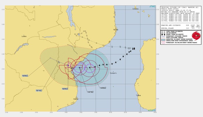 Cyclone Idai trajectory and storm path projection