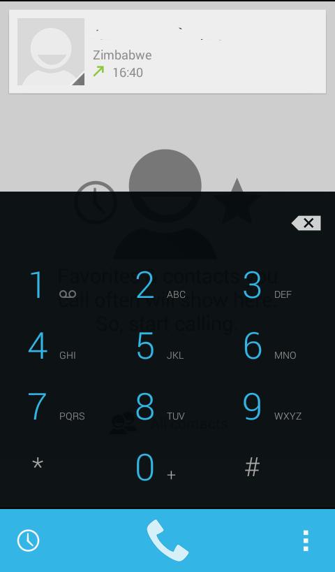 Dialler keypad