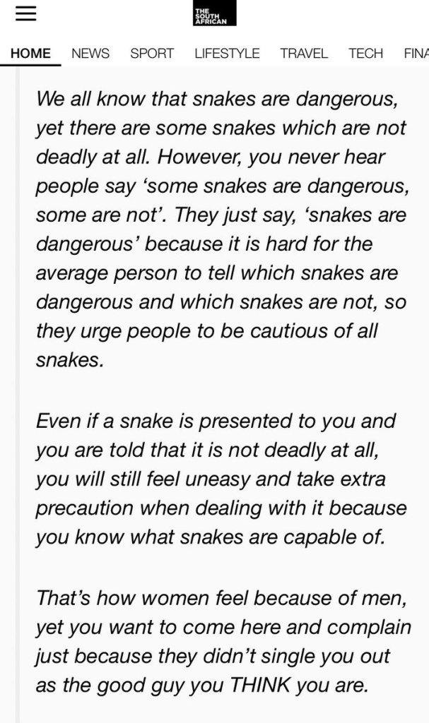 Snake analogy #notallmen