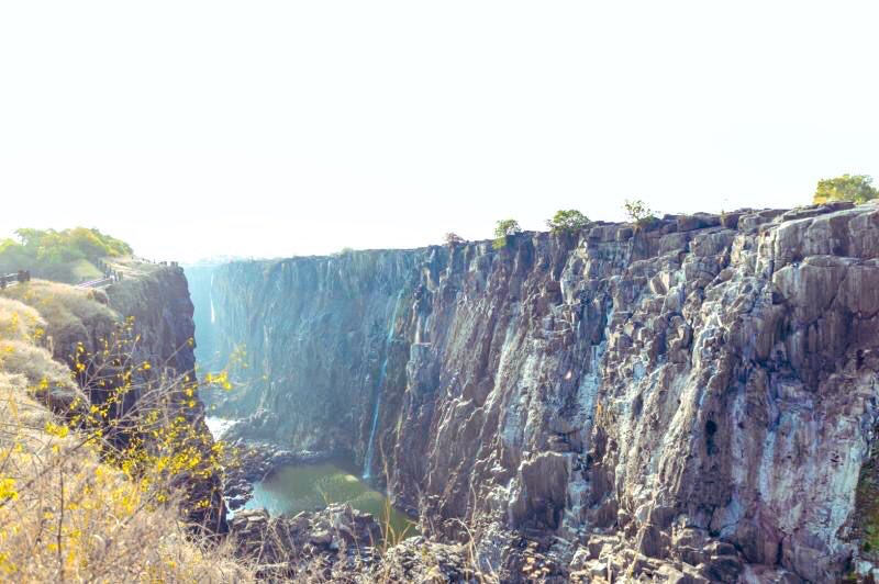Rocky falls during the dry season of the Victoria Falls