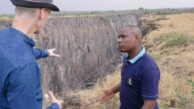 Could the Victoria Falls run dry? Stephen Sackur with Elisha Moyo at the Horseshoe Falls Victoria Falls