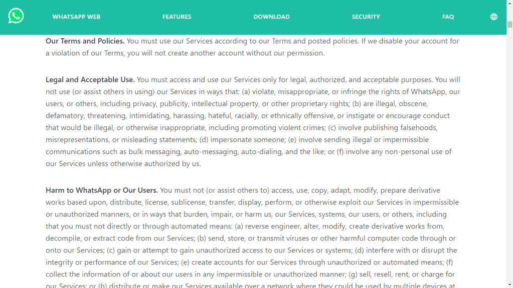 whatsapp terms of service