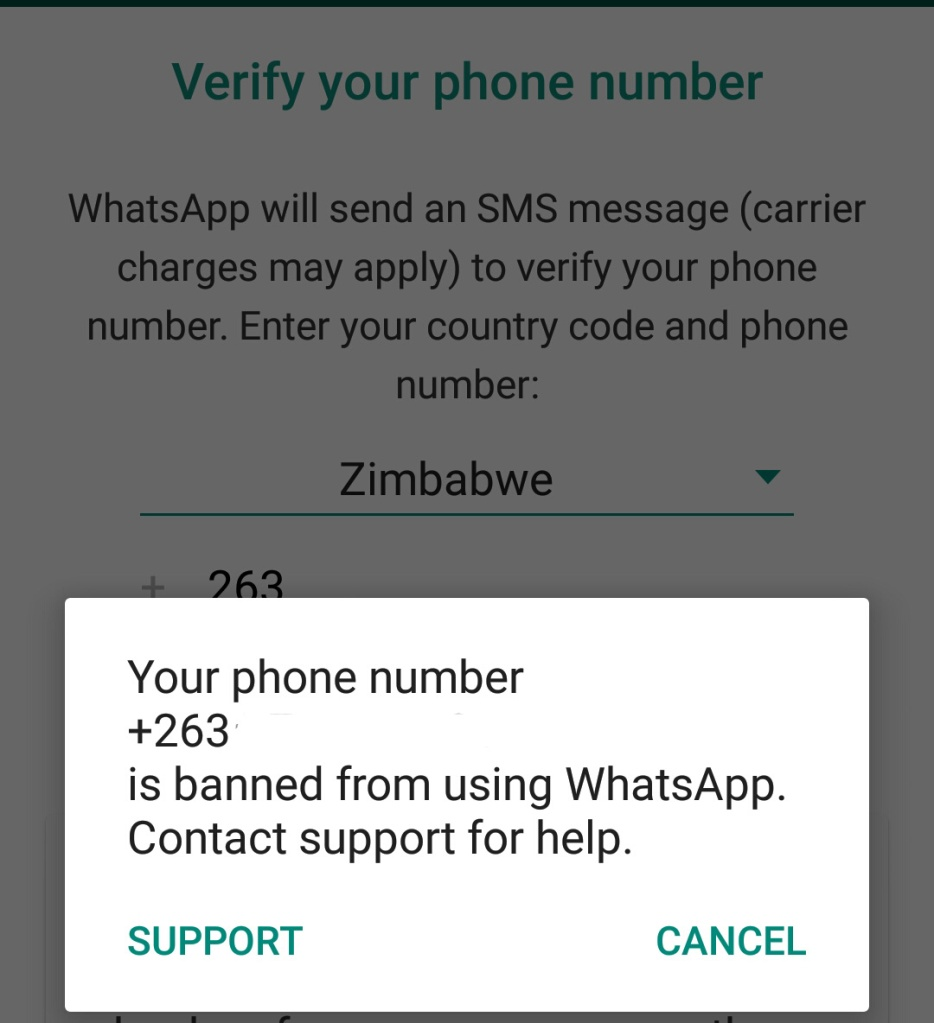 Your number is banned from using Whatsapp