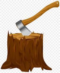 axe and tree stump