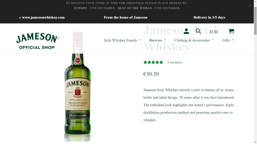 Jameson new bottle that highlights the brand's provenace, triple distillation and premium quality cues