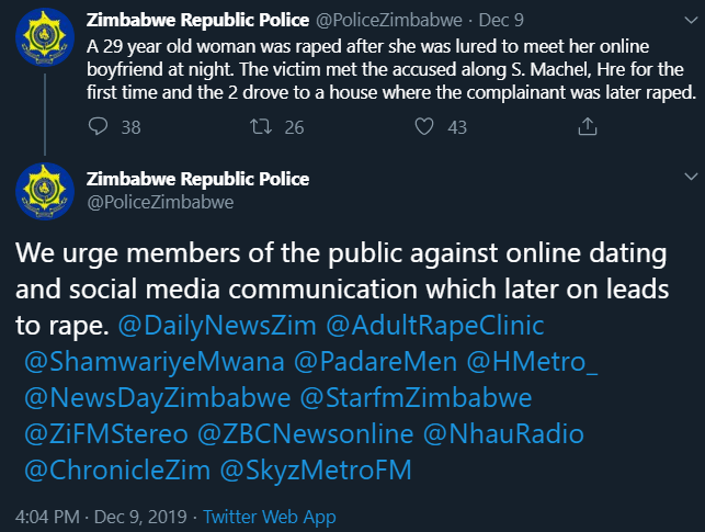 Zimbabwe republic police urges members of the public againdt online dating and social media communications