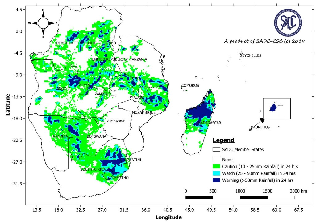 seasonal rainfall for 2018/19 souther africa