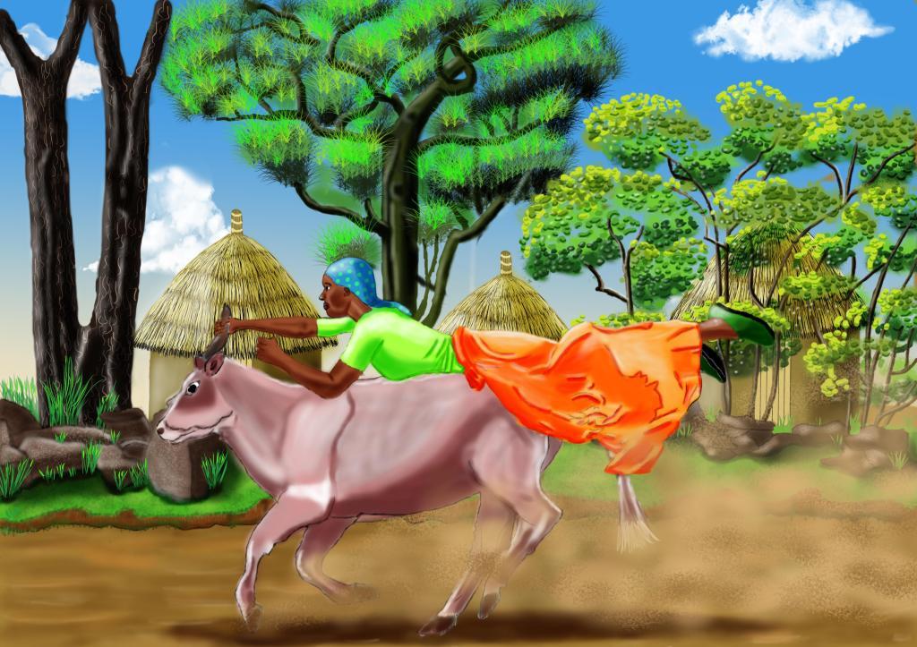 Riding a cow  Berina Ogega