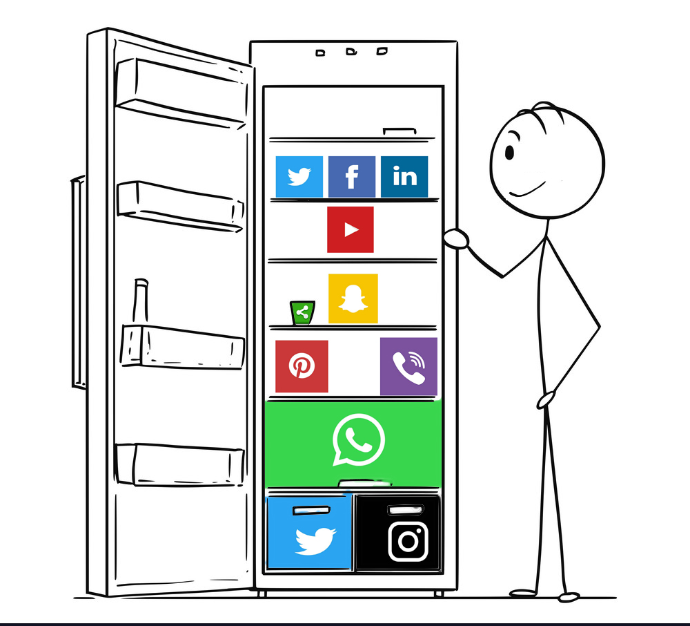 Stick man looking into fridge filled with social media icons