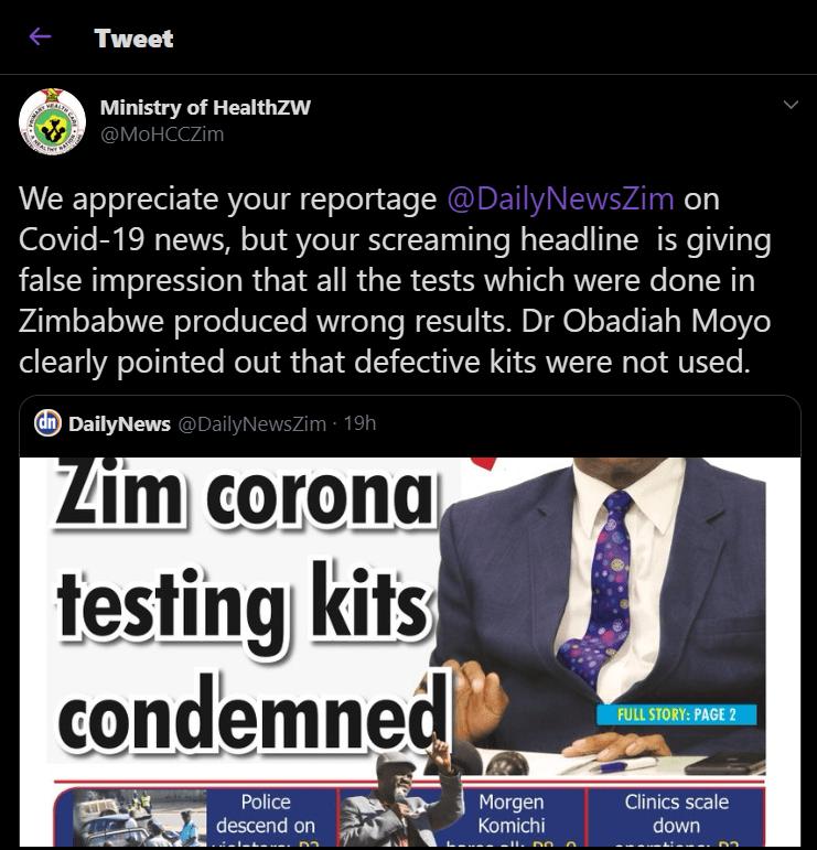 zim corona testing kits condemned