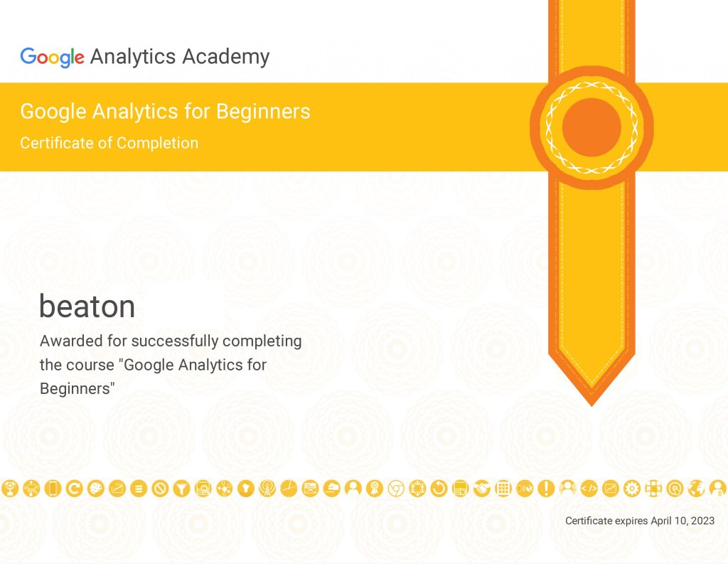 Beaton succesfully completed Google Analytics For Beginners