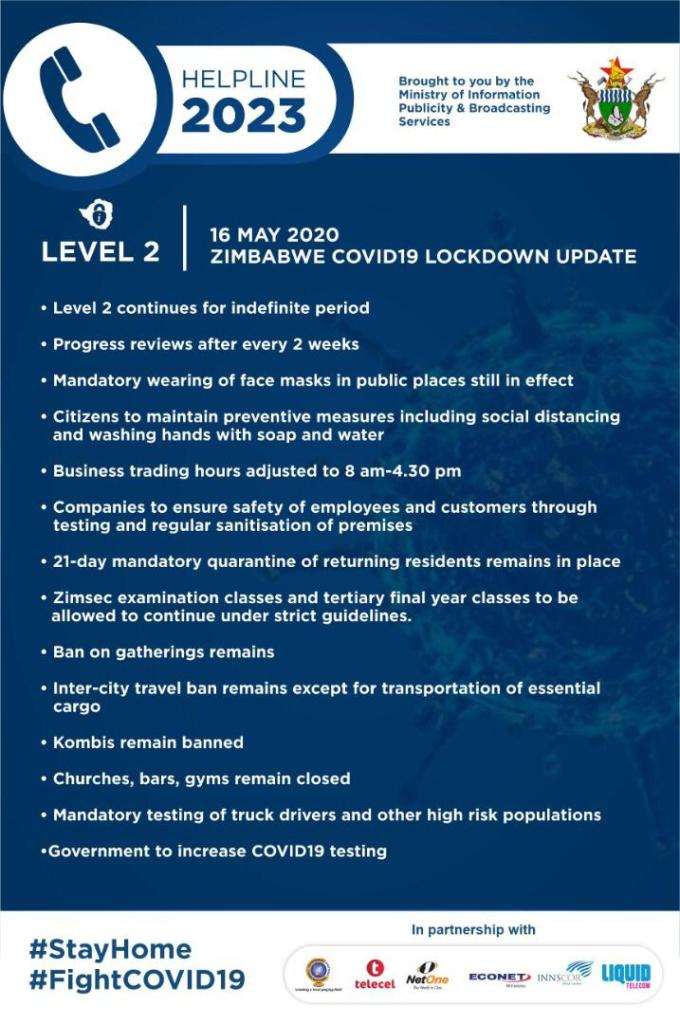 Zimbabwe Covid update level 2 lockdown indefinitely