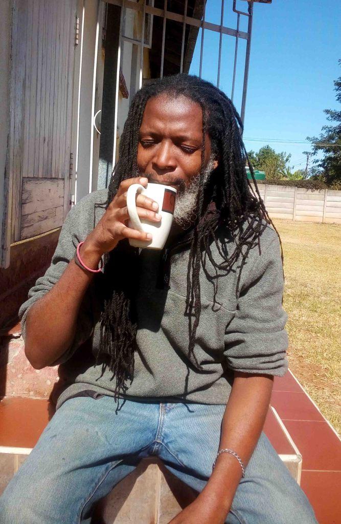 drinking coffee in the sun