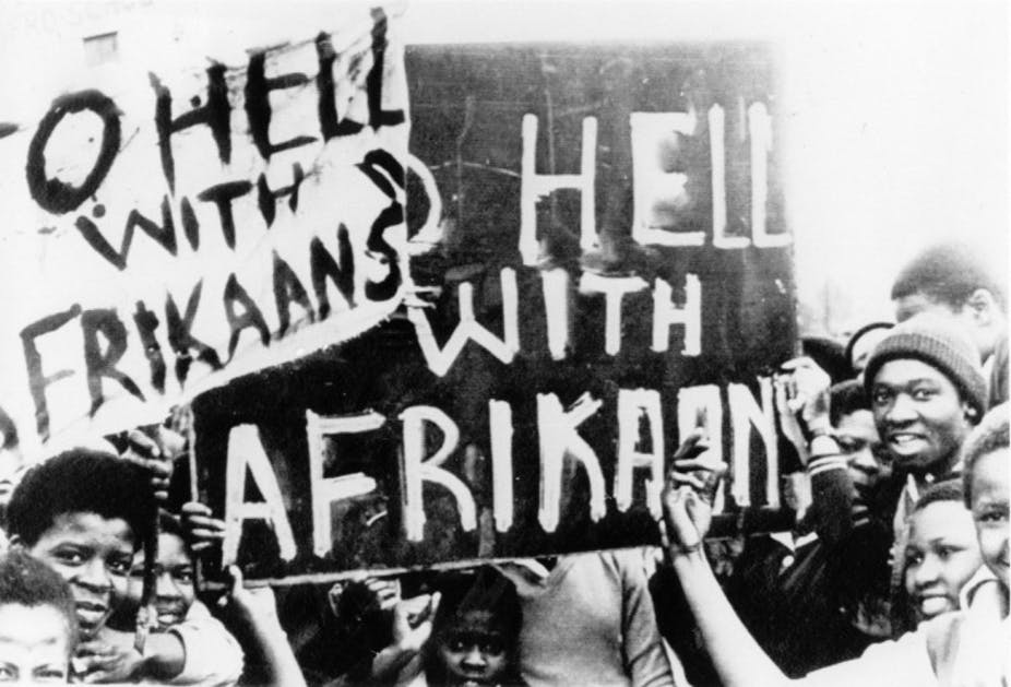 To hell with Afrikaans placard june 1976