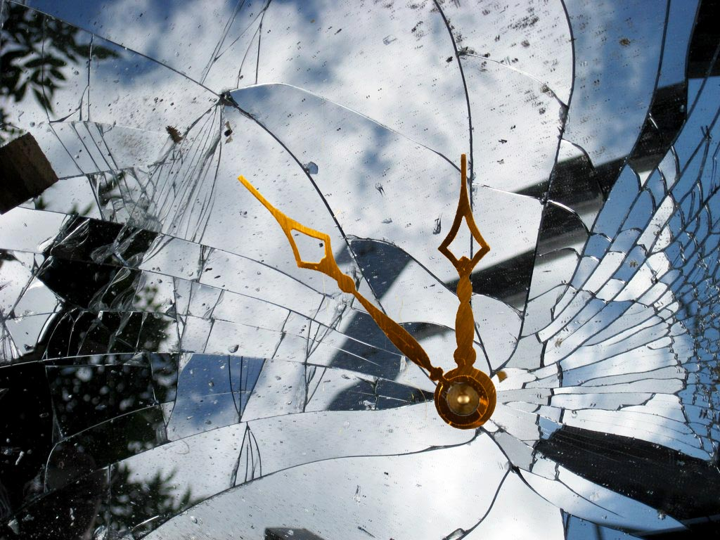 broken glass clock face