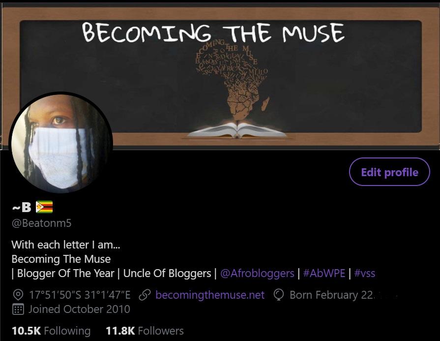 Twitter profile @Beatonm5 Award winning blogger