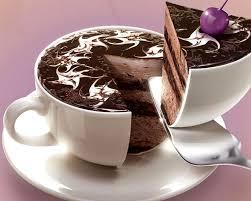 Coffee mug cut into cake