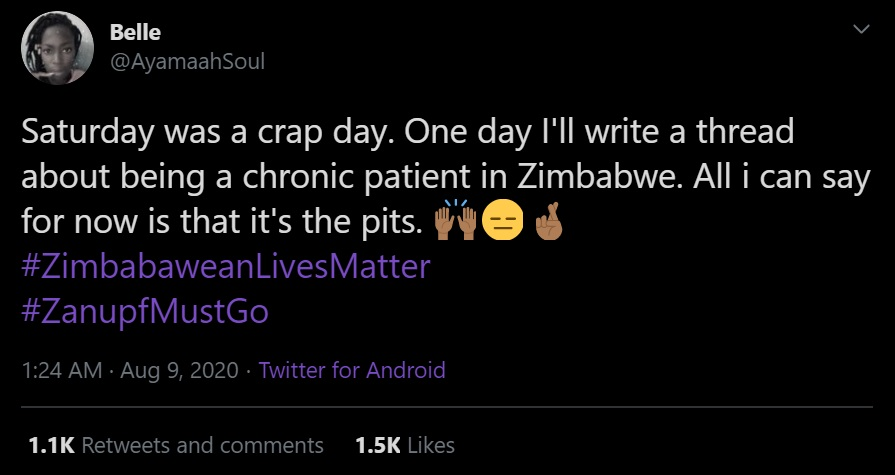 Saturday was a crap day. One day I'll write a thread about being a chronic patient in Zimbabwe. All i can say for now is that it's the pits.