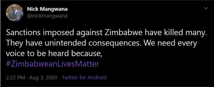 sanctions have killed many in Zimbabwe Nick Mangwana