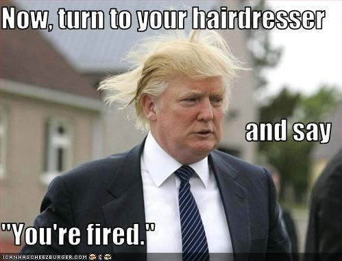 Turn to you hairdresser and say you are fired