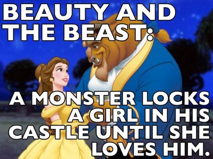 a beast locks up a girl inhis castle  until she loves him