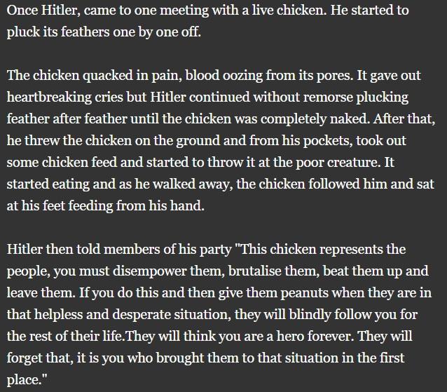 Hitler plucking a live chickenn