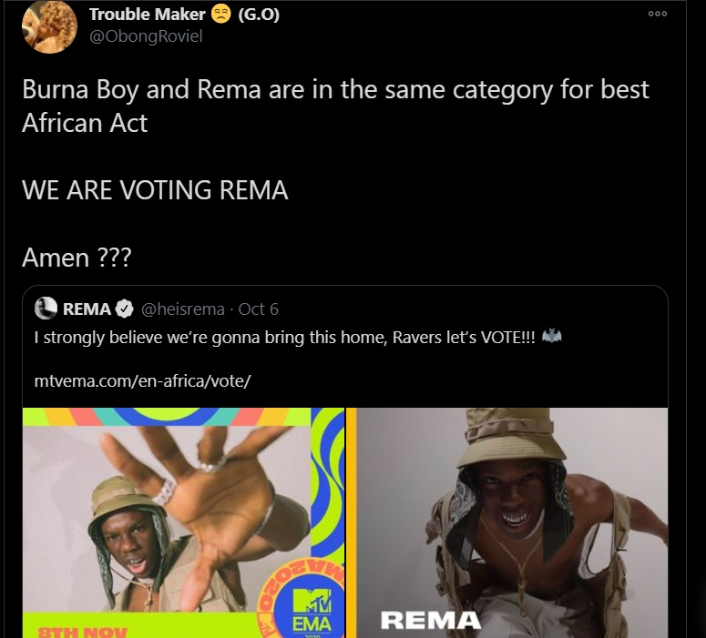 Voting for Rema and not Burna boy
