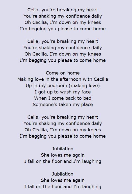 Cecilia lyrics