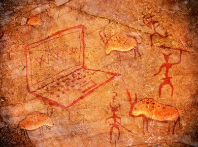 Rock art with a laptop