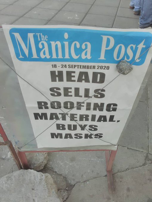 Head sells roofing material buys mask