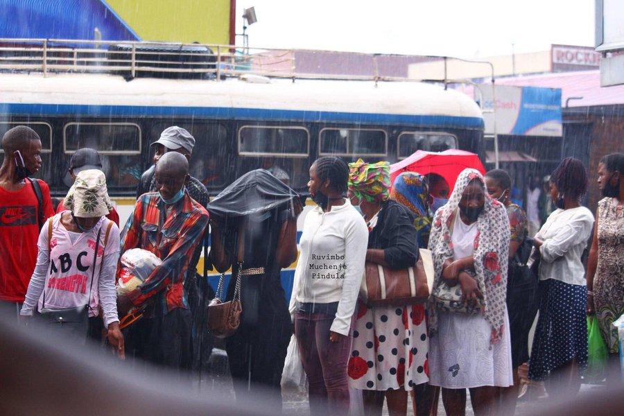 Zupco queue in the rain