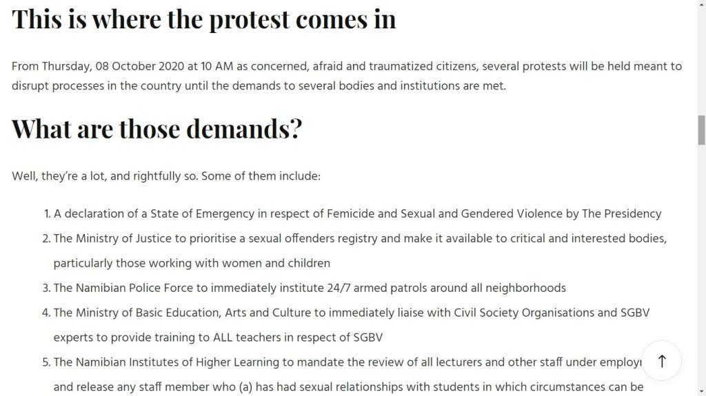 demands for the ShutItALLDown protest Namibia