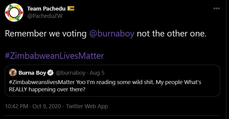 voting for Burna Boy